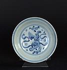Chinese Blue and white dish, Ming Tianshun Period