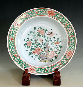 Chinese Famille Verte Basin, Qing Dynasty