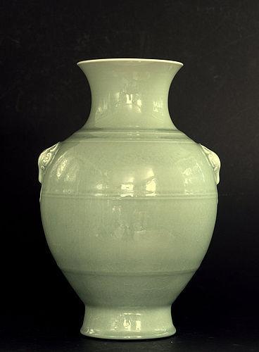 Chinese Vase in Clair de Lune Glaze, Qianlong Mark, Guangxu Period