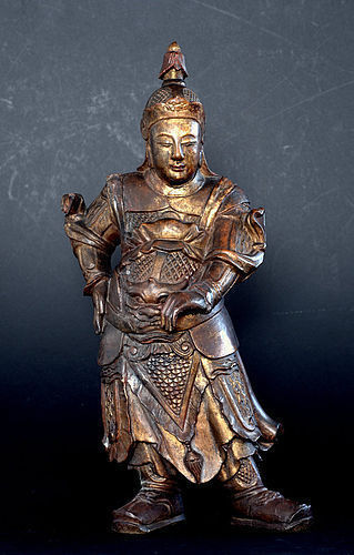Gilt Wood Statue of Skanda (Weituo) - Ming Dynasty