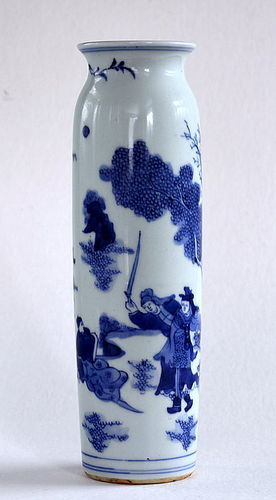 Blue and White Sleeve Vase with Figures