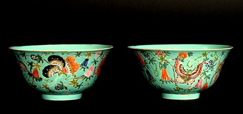 A Pair of Famille Rose Bowls, Jiaqing Mark and Period