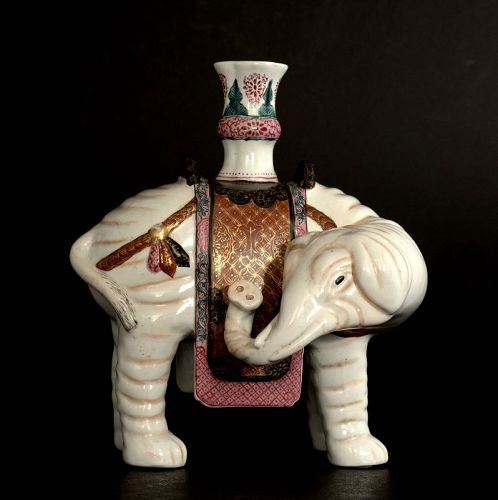 A Chinese Porcelain Elephant with a Vase on Its Back, Qing Dynasty