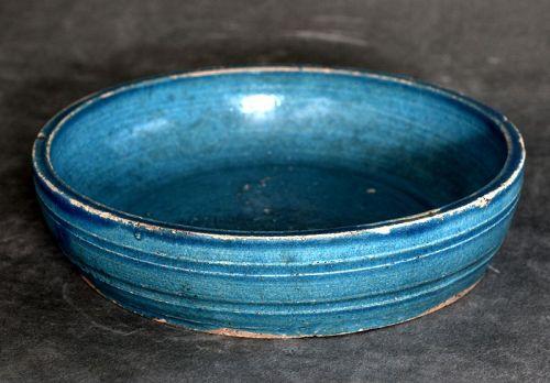 Chinese Turquoise-glazed Stoneware Brush Washer, Ming Dynasty