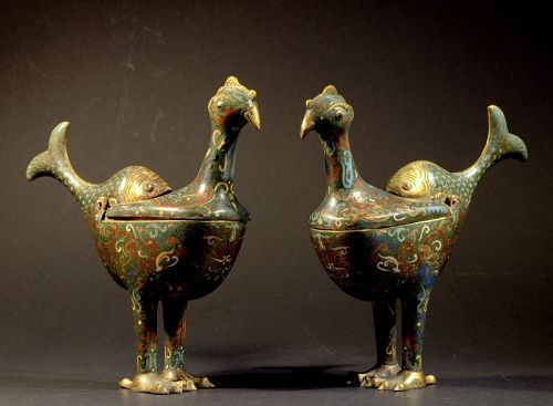 Pair of Chinese Cloisonne Incense Burners