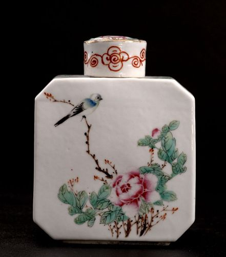 Chinese Famille Rose Tea Container, Early 20th Century, Marked