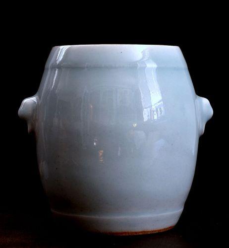 Chinese Celadon-glazed Drum-shaped Vase