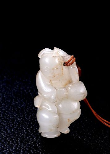 White Jade Statuette of a Boy, Qing Dynasty