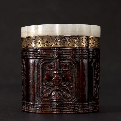 Zitan and Huanghuali Box with Jade Lid, Qing Dynasty