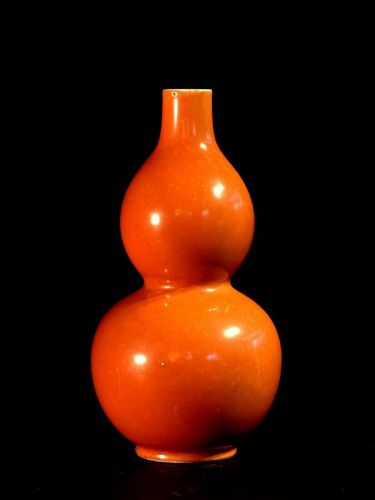 Chinese Coral-red Vase in Gourd Shape, Jiaqing Mark and Period