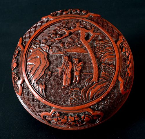 Chinese Carved Cinnabar Lacquer Round Box, Qing Dynasty
