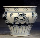 Rare Animal Decorated Small Blue and White Jar , Late Ming Dynasty
