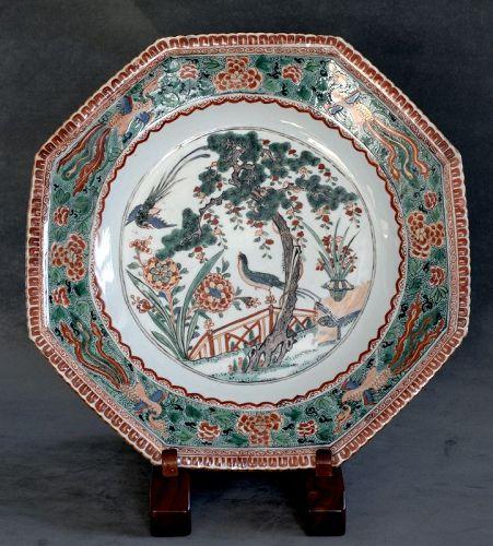 Chinese Famille Verte Octagonal Dish, Kangxi Period