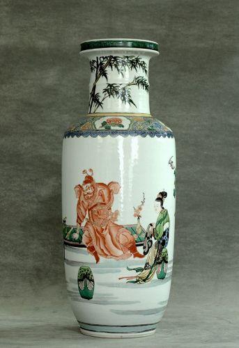 A  Fine Famille Verte Rouleau  Vase with figures, Guangxu Period
