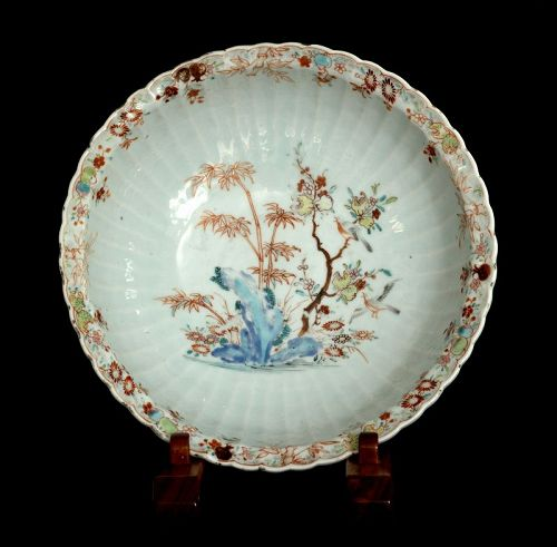 A Large Chinese Famille Rose Bowl in Imary Style, 18th Century