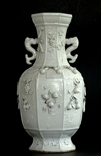 A  Massive Vase with High Relief Decoratings, Guangxu Mark and Period