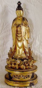 Antique Japanese gold lacquer carved wooden Buddha