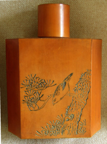 Antique Chinese Bamboo Tea Caddy Cannister