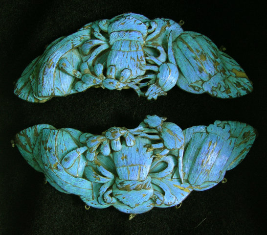 Large Pr Antique Chinese Kingfisher Feather Ornaments