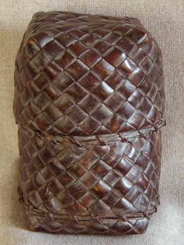 Antique Thailand woven bamboo tobacco container