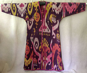 Uzbekistan quilted silk Ikat Robe