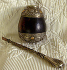 Antique Argentina Tea Straw and Tea Gourd Container