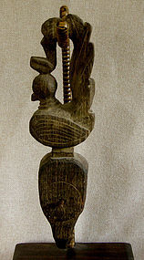 Antique Burmese Wooden Carved Loom Pulley
