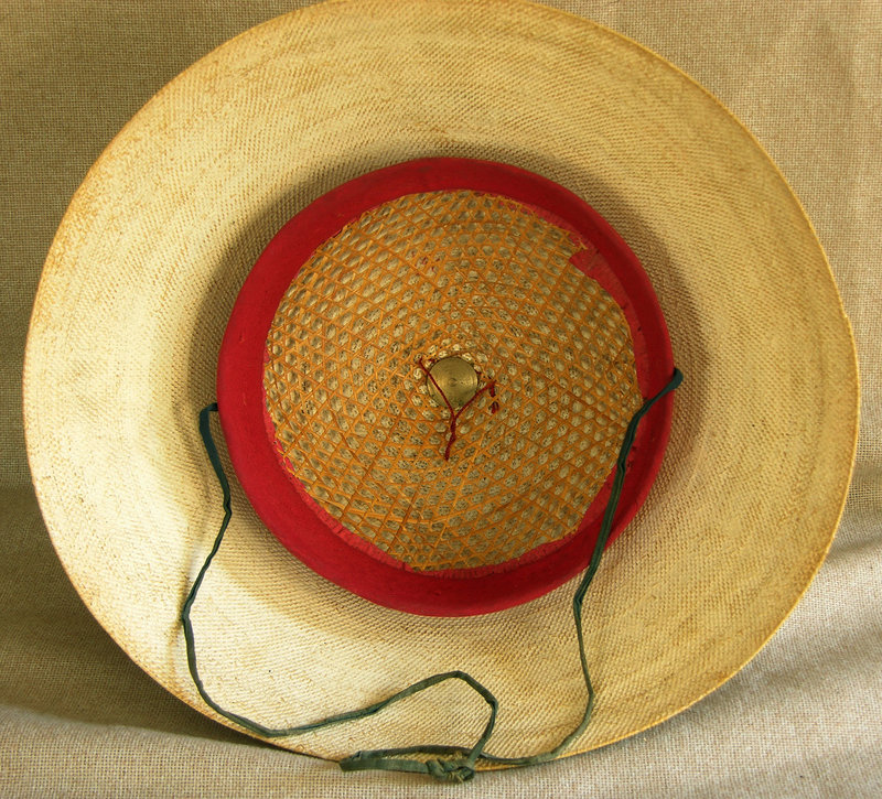 Antique Chinese 5th rank Summer Court Hat with box
