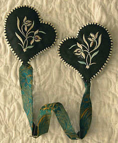 Antique Chinese pair of embroidered ear muffs