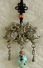 Antique Chinese silver toggle with turquoise bead