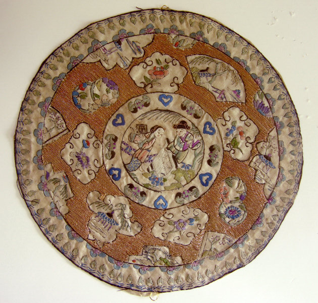 Silk embroidered rondel from 19th Cent Chinese Robe