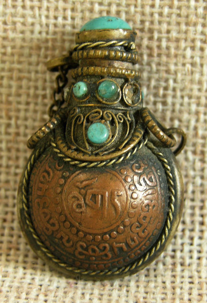Mini Mongolian Copper snuff bottle with turquoise