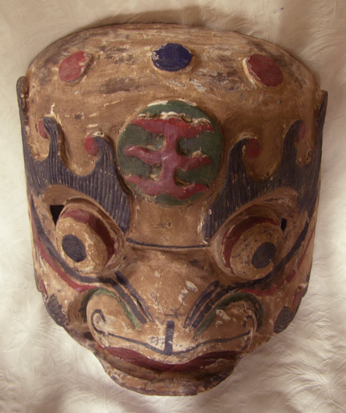 Antique large Chinese carved wooden mask