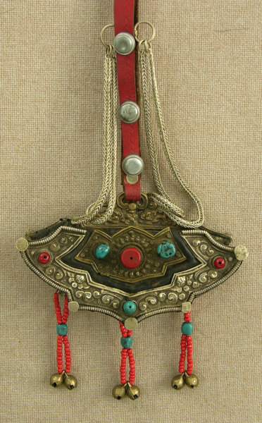 antique Tibetan womans festival purse ornament