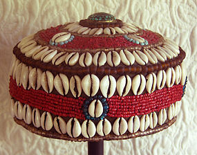 tibetan hat with cowrie shells, turquoise and beads