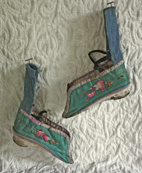 Pair of Antique Chinese embroidered lotus shoes
