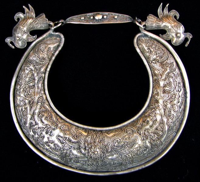 Antique Chinese Ethnic Minority silver necklace bib