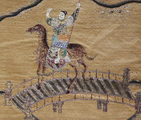 Large antique Chinese embroidered war scene tapestry