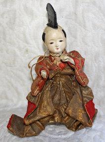 small antique edo Japanese hina drummer doll muscian