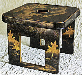 Antique Japanese Makie Lacquer Sake tray table server