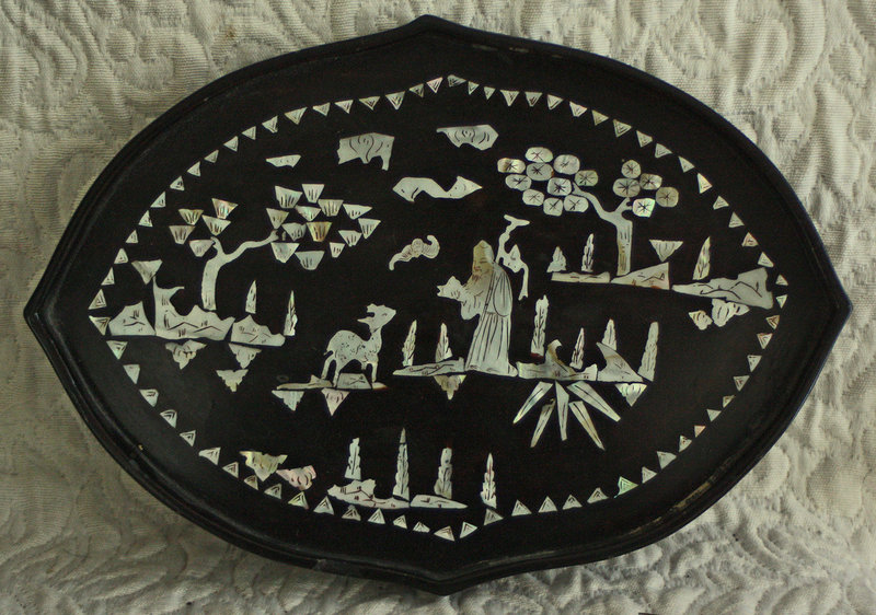 Antique Chinese lacquer tea tray with mother of pearl