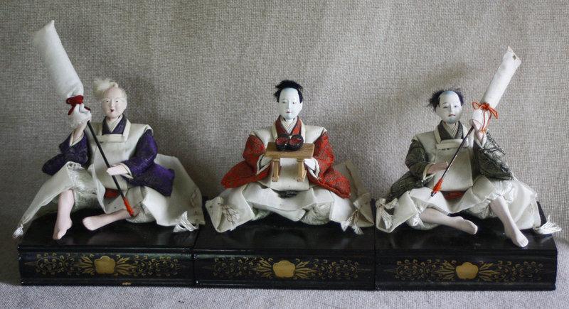 set of 3 Meiji period Japanese Hina dolls