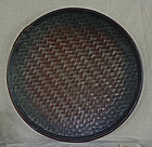 Large woven bamboo serving tray from Philippines