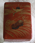 Japanese red  lacquer incense box