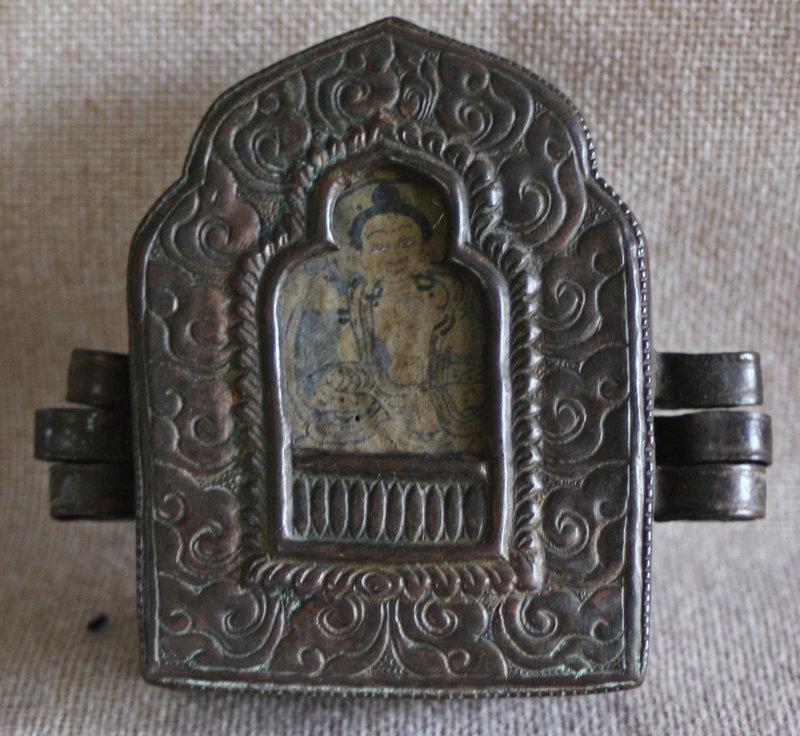 Antique Tibetan Copper Gau with 2 monk amulets