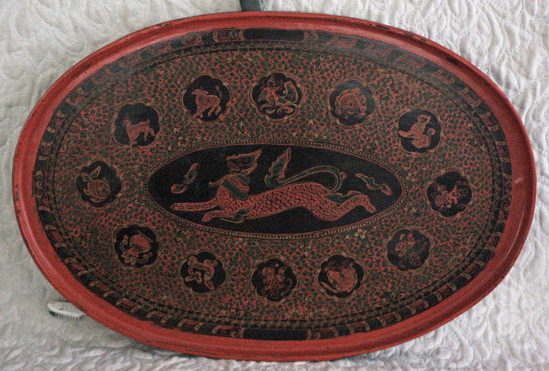 Antique Large Oval Burmese Lacquerware Serving Tray
