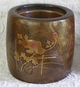 Japanese  Kiriwood Hibachi with Gold lacquer decoration
