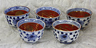 Meiji period Japanese set of 5 porcelain sake  cups