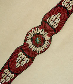 Tibetan beaded belt with cowrie shells, turquoise