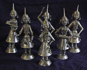 6 Indian maiden musicians low grade silver